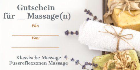 Gutschein für eine oder mehrere Massagen. Entweder eine klassische Massage oder eine Fussreflexzonen Massage